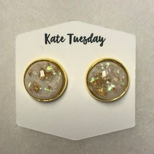 Gold Fleck Stud Earrings - Brand New